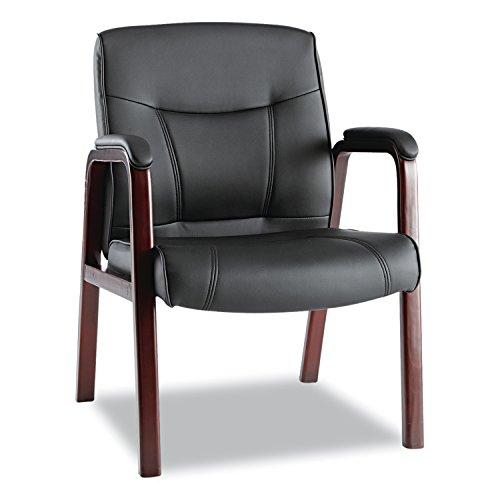 Alera ALEMA43ALS10M Madaris Series Leather Guest Chair w/Wood Trim, Four Legs, Black/Mahogany by Alera