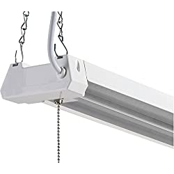 LED 4ft Utility Shop Light-40W, 5000K, Nonlinkable, Clear Lens, 4500LM, Replaces 4 Foot Fluorescent, Garage Shoplight Ceiling Fixture, Pull Cord Chain, Plug In