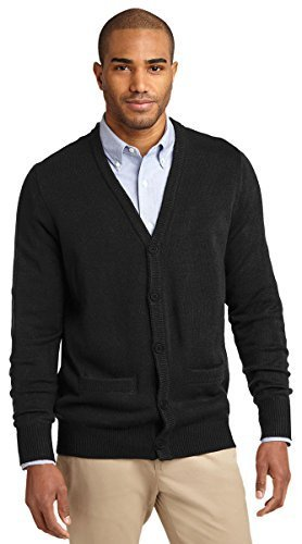 Port Authority Men's V-Neck Cardigan with Pockets - Black SW302 2XL