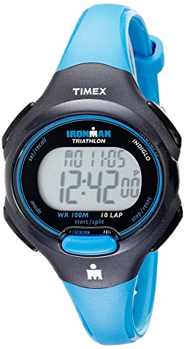 Timex Women's T5K526 Ironman Essential 10 Mid-Size Blue/Black Resin Strap Watch (Strap Resin Black)
