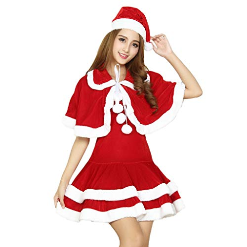 Euone  Christmas Towel, Woman's Sexy Christmas Dress Slim Fit Swing Dresses + Red Hat + Shawl Lingerie Underwear Set