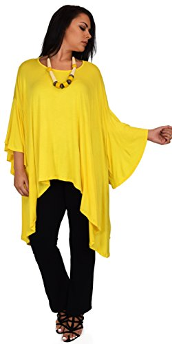Asymmetrical Poncho - Dare2BStylish Women Asymmetrical Dress Tunic Top Cover Up w/Butterfly Sleeves Yellow