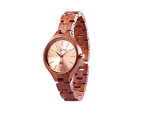 Tempus Elenor - Rose Gold Red Sandalwood Women's Wood Wooden Bracelet Watch Fashion - TWW-03