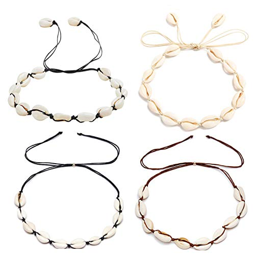 COMMINY 4Pcs Natural Cowrie Shell Choker Necklace for Women Girls, Handmade Adjustable Seashell Necklace Set Hawaiian Jewelry for Summer Vacation