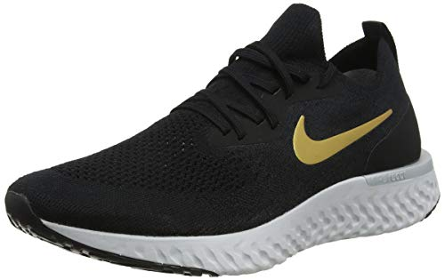 Nike Women's Epic React Flyknit Running Shoes (8.5, Black/Gold)