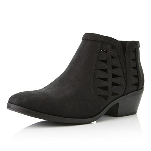 DailyShoes Women's Western Cowboy Bootie - Ultra Comfortable and Soft Perforated Change-01 - stylishcombatboots.com