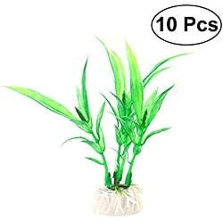 UEETEK 10Pcs Artificial Underwater Plant, Aquarium Ornament Plastic Plant, Fake Plant Decorative for Aquarium Fish Tank