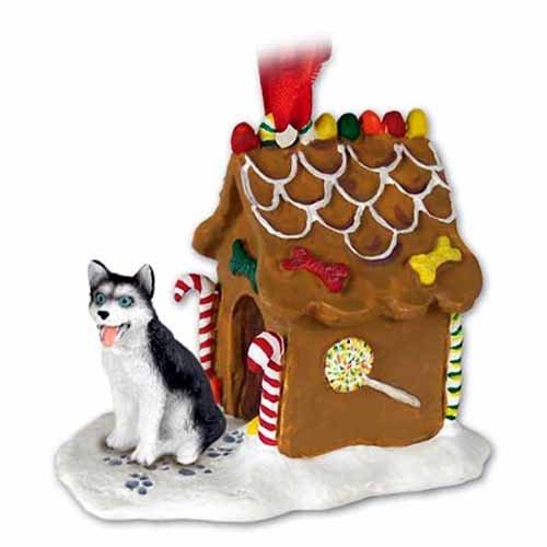 White Gingerbread Dog House Ornament - Siberian Husky Dogs Gingerbread House Christmas Ornament New Gift