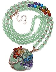 Top Plaza 7 Chakra Healing Crystal Natural Round Gemstone Pendant Necklace Tree of Life Copper Wire Wrapped Beads Necklaces Reiki Jewelry for Women