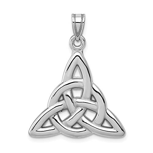 14k White Gold Trinity Pendant Charm Necklace Celtic Claddagh Fine Jewelry Gifts For Women For -