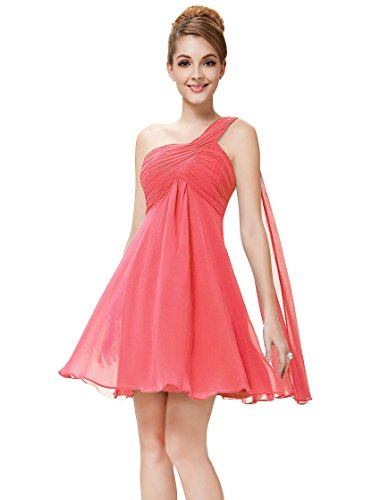 Ever Pretty Womens One Shoulder Ruched Empire Waist Bridesmaids Dress 4 US Coral