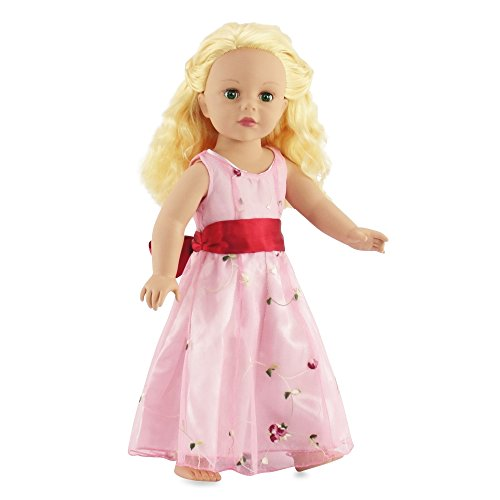ress | Fits American Girl Dolls | Embroidered Bow Fancy Floral Dress ()