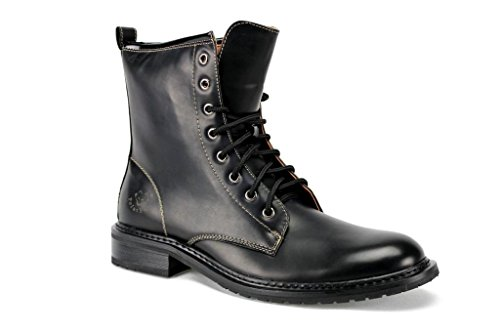 Style Calf High Boot (Polar Fox Men's 808563A Lace Up Calf High Military Style Combat Boots, Black,)