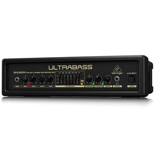 BEHRINGER BXD3000H Ultra-Lightweight 300-Watt 2-Channel Bass Amplifier Head with FBQ Spectrum Analyzer Black