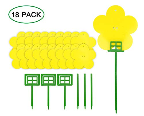 18 Pack Dual Yellow Sticky Traps in Flower Shaped for Flying Plant Insect Like Fungus Gnats, Aphids, Whiteflies, Leafminers -Included 3pcs Supporting Poles and 15pcs Twist Ties