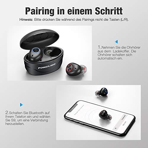 POWERADD Bluetooth Kopfhörer In Ear Kabellose Kopfhörer Bluetooth 5.0 Studio Kopfhörer mit Mikrofon, IPX7 Wasserschutzklasse Schwarz