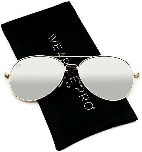 Aviator Full Silver Mirror Metal Frame Sunglasses (Golden Frame/Mirror Silver Lens, 57)]()