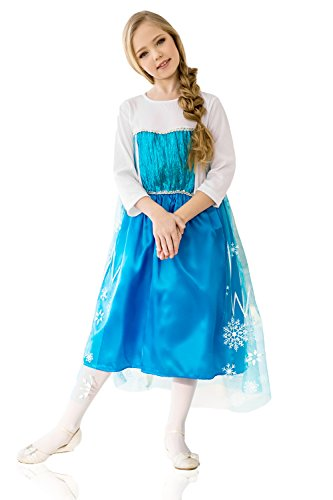 La Mascarade Kids Girls Snowflake Costume Snow Princess Queen Winter Fairy Cosplay Dress up (3-6 Years, (Winter Queen Costume)