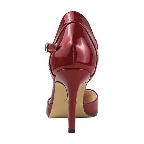 Aiguilles Grande wealsex Soirée Bordeaux Femme Escarpins Taille Cuir 41 Vernis Talons Elégant Chaussure 40 Boucles Bout 42 Bride Sandales Cheville Moyen Pointu Mariage wFIrFT