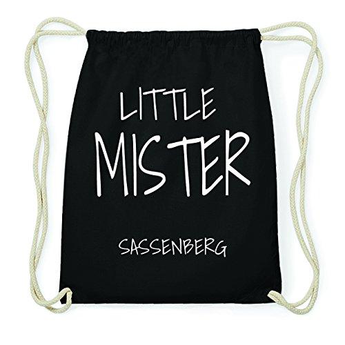 JOllify SASSENBERG Hipster Turnbeutel Tasche Rucksack aus Baumwolle - Farbe: schwarz Design: Little Mister