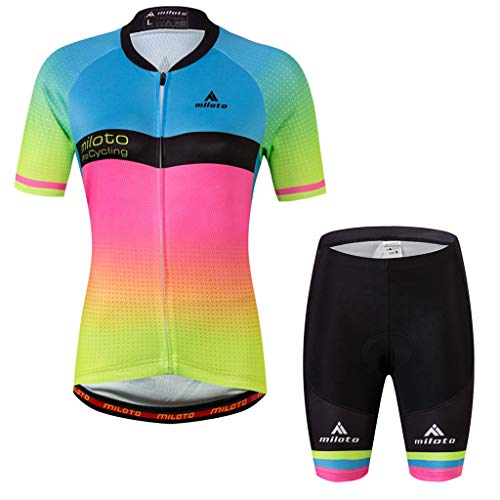 Women's Short Sleeve Cycling Jersey Jacket Cycling Shirt Quick Dry Breathable Mountain Clothing Set Bike Top Rainbow ()