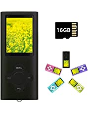 MP3 Player MP4 Player with a 16GB Micro SD Card, Runying Portable Music Player Support up to 64GB, Black