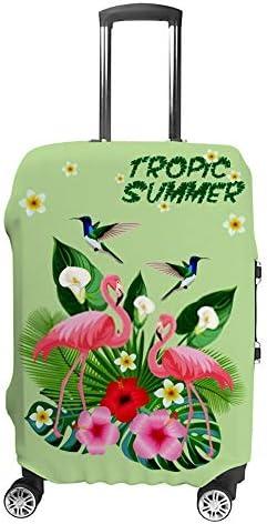 スーツケースカバー トラベルケース 荷物カバー 弾性素材 傷を防ぐ ほこりや汚れを防ぐ 個性 出張 男性と女性熱帯組成フラミンゴハチドリ