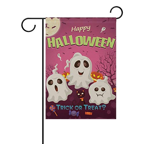 Decorative Happy Halloween Skull Trick or Treat Garden Yard Flag Banner for Outside House Flower Pot Double Side Print -