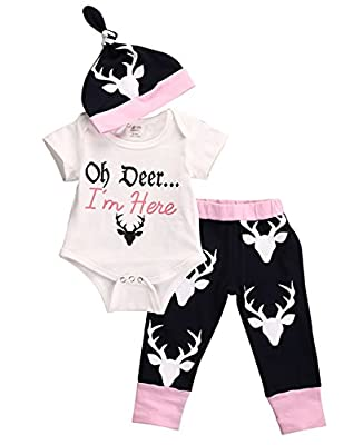 Baby Newborn Girls Cute Bodysuits with Leggings and Hat 3pcs outfit Clothes