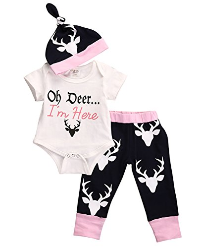 Baby Newborn Girls Cute Bodysuits with Leggings and Hat 3pcs outfit Clothes (0-3M, Pink)