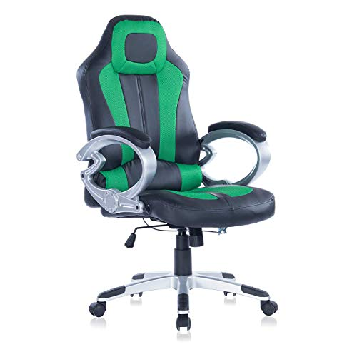 HEALGEN Gaming Chair Executive Office Chair PU Leather Computer Desk Chair (Green)