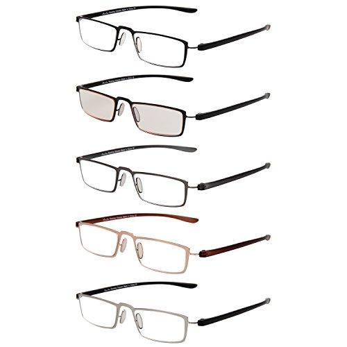 Liansan 5 Pairs Metal Reading Glasses Comfort Vintage Quality Prescription Eyeglasses - Eye Global Glasses