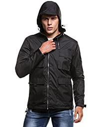 Coofandy Men\'s Classic Waterproof Front-Zip Hooded Rain Jacket