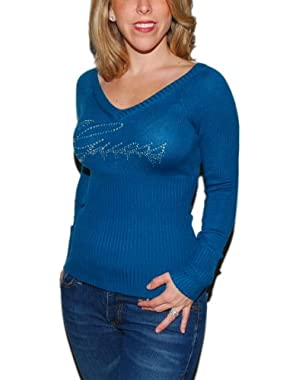 Guess Womens Rhinestone V-Neck Knit Sweater Blue Silver