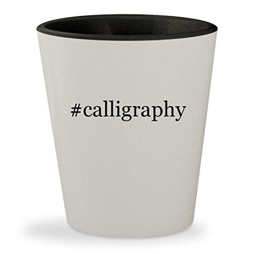 #calligraphy - Hashtag White Outer & Black Inner Ceramic 1.5oz Shot Glass