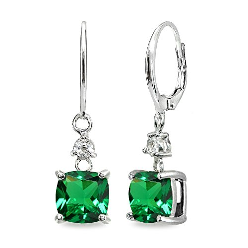 (Sterling Silver Simulated Emerald & White Topaz 7mm Cushion-cut Dangle Leverback)