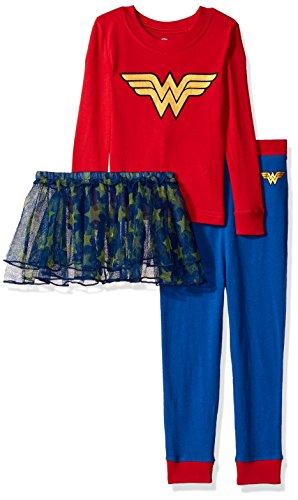 Wonder Woman Tutu Child Costume (Wonder Woman Toddler Girl's Tutu Costume Pajama Set, red, 4T)