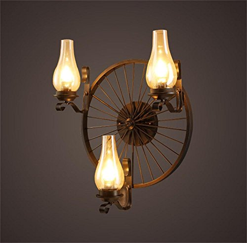HOMEE Wall lamp- american iron industrial wind retro living room wall lamp loft bar candlestick creative personality wheels wall lamp --wall lighting decorations by HOMEE