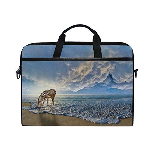 jstel Zebra am Strand Laptop Schulter Messenger Tasche Fall Sleeve für 35,6cm zu 39,6cm mit verstellbarer Notebook Schultergurt