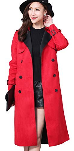 chouyatou Women's Elegant Notched Collar Double Breast Slim Suede Long Belted Duster Coat (Large, Red) Belted Notched Collar Coat