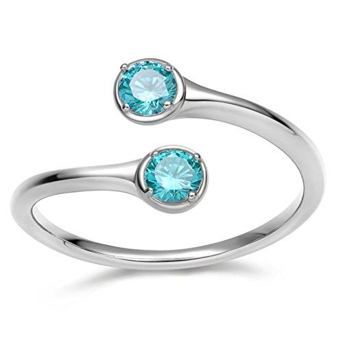 (EAMTI Wrap Adjustable 925 Sterling Silver Aquamarine Cubic Zirconia March Birthstone Wedding Engagement Ring)