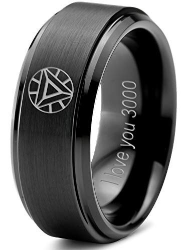 Zealot Jewelry Tungsten Quote I Love You 3000 Engraved Band Ring 8mm Men Women Comfort Fit Black Step Bevel Edge Brushed Polished Size 9.5 ()