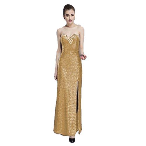 Gold Slim Sequins Dresses cotyledon Length Fit Dresses Bra With Floor Women's xtw7Htv