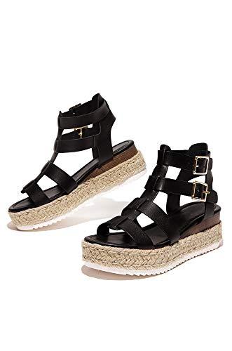 SODA Coky Womens Casual Espadrilles Trim Rubber Sole Flatform Studded Wedge Buckle Ankle Strap Open Toe Sandals (7.5 M US, Black E)