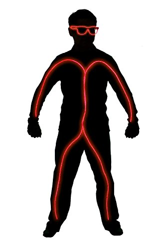 El Wire Stick Figure Costume (GlowCity Light Up Stick Figure Costume Kit (Childs Size 3-5 FT Tall) Includes Lights, Shades and Clips Only-Attaches Onto Your Own Clothing (Red))