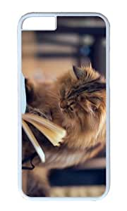 MOKSHOP Adorable Cat Book Hard Case Protective Shell Cell Phone Cover For Apple Iphone 6 (4.7 Inch) - PC White