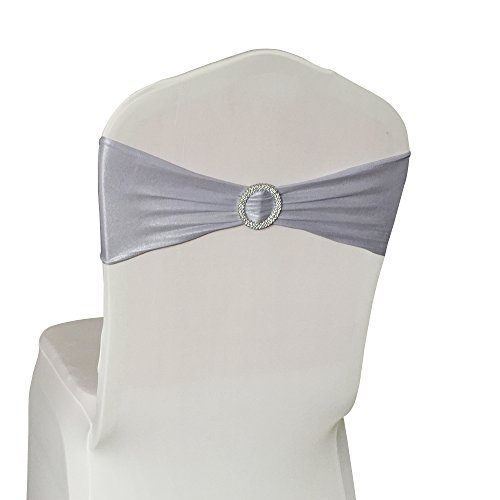 50PCS Spandex Chair Sashes Bows Elastic Chair Bands with Buckle Slider Sashes Bows for Wedding Decorations (Silver)
