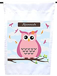 """Rikki Knight """"Hannah"""" Name Cute Pink Owl on Branch with Personalized Name House or Garden Flag, 12 x 18-Inch Flag Size with 11 x 11-Inch Image"""