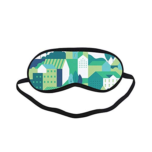 All Polyester Residential Building Color Art Sleeping Eye Masks&Blindfold by Simple Health with Elastic Strap&Headband for Adult Girls Kids and for Home Travel