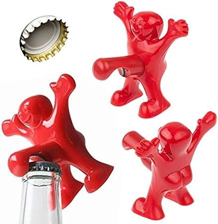 Juego de 3 abrebotellas, diseño de hombre rojo